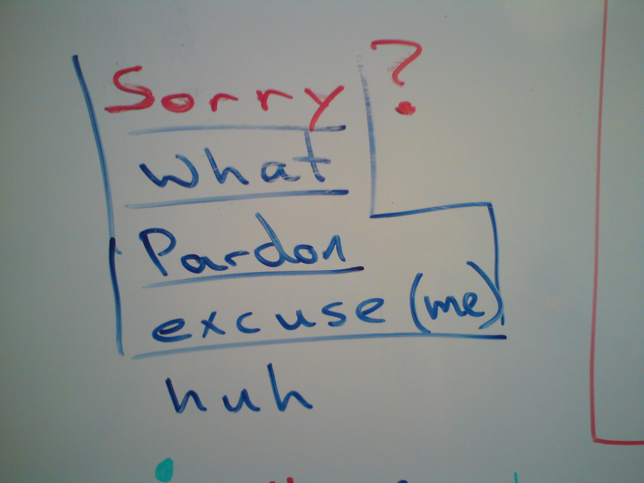 """Sorry?"" - whiteboard"