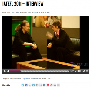 Me being interviewed by Andi White at IATEFL 2011